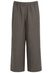 Eileen Fisher Brown Cropped Wide Leg Trousers Chocolate