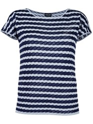 Giorgio Armani Striped Knit Top Blue