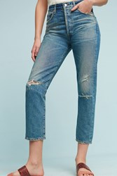 Anthropologie Citizens Of Humanity Dree Ultra High Rise Straight Cropped Jeans Denim Medium Blue