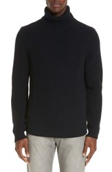 Eidos Napoli Ribbed Merino Wool Turtleneck Sweater Navy