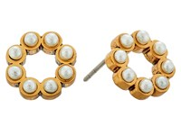 Marc Jacobs Pearl Dot Studs Earrings Cream Antique Gold Earring