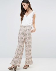 B.Young Printed Palazzo Trousers Peach Amber Multi