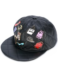 Moschino Badge Applique Quilted Snapback Women Sheep Skin Shearling Viscose S Black
