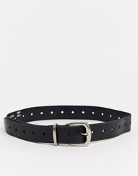 Topshop Belt With Silver Tipping In Black