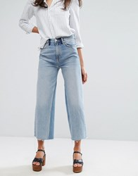 Mih Jeans M.I.H Crop Wide Leg Jean With Contrast Vintage Wash And Raw Hem Redo Rod Blue
