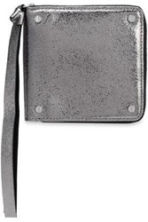 Mcq By Alexander Mcqueen Metallic Cracked Leather Wallet Silver