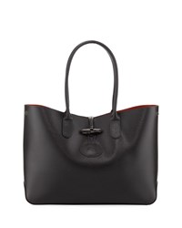 Longchamp Roseau Leather Shoulder Tote Bag Black
