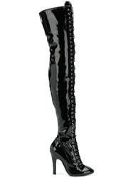 Moschino Lace Up Thigh High Boots Black