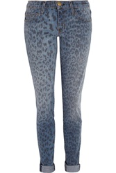 Current Elliott The Rolled Skinny Leopard Print Low Rise Skinny Jeans