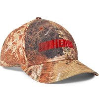 Heron Preston Embroidered Printed Cotton Twill Baseball Cap Brown