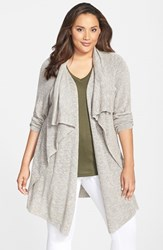 Plus Size Women's Nic Zoe 'Great Lengths' Drape Front Cardigan Washed Olive Mix
