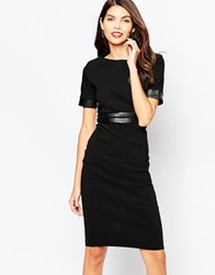 Vesper Charlene Bodycon Dress With Pu Band Detail Black