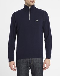 Lacoste Navy New Wool Zip Neck Sweater With Mottled Grey Trim