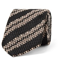 Dries Van Noten 6Cm Striped Wool Silk And Linen Blend Tie Black
