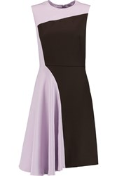3.1 Phillip Lim Horizon Two Tone Silk Charmeuse And Wool Twill Dress Purple