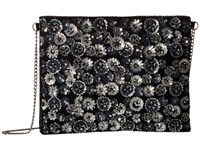 San Diego Hat Company Bsb3551 Flower Sequin On Velvet With Chain Strap Black Handbags