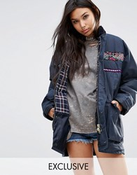 Milk It Vintage Oversized Wax Jacket With Festival Trims Navy