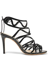 Alexandre Birman Nim Cutout Patent Leather Sandals Black