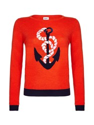 Yumi Embellished Anchor Jumper Red