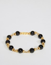 Mister Maxime Chain And Onyx Bead Bracelet In Gold Gold
