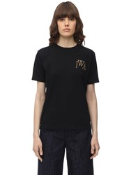 J.W.Anderson Jwa Logo Embroidered Cotton T Shirt Black