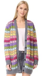 Marc Jacobs Long Sleeve V Neck Cardigan Rainbow Multi