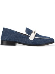 Newbark Melanie Denim Loafers Women Cotton Lamb Skin Leather 8 Blue