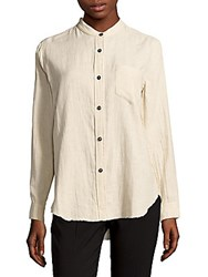 Brunello Cucinelli Long Sleeve Hi Lo Dress Shirt Off White