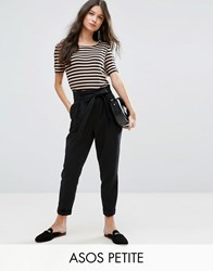 Asos Petite Linen Paperbag Waist Trousers With Tie Black
