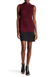 French Connection Knit Mock Neck Jumper Dress Red