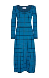 Luisa Beccaria Wool Checked Knit Dress Blue
