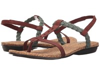 The North Face Bridgeton Braid Slingback Mahongany Brown Laurel Wreath Green Women's Sandals