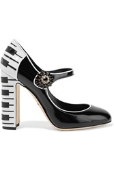 Dolce And Gabbana Vally Embellished Two Tone Patent Leather Pumps Black