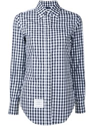 Thom Browne Gingham And Floral Print Shirt Women Cotton 42 Blue