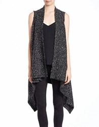 Lord And Taylor Petite Plush Knit Flyaway Cardigan Black Heather