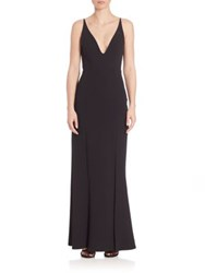 Abs By Allen Schwartz Deep V Neck Gown Black