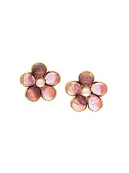 Chanel Vintage Flower Lip On Earrings Metallic