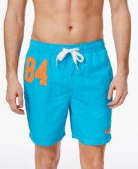 Superdry Men's Premium Embroidered Applique Water Polo Shorts Hawaii Blue