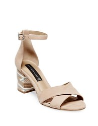 Steve Madden Voomme Leather Stacked Heel Sandals Tan