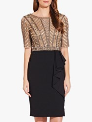 Adrianna Papell Beaded Ruffle Dress Gold Black