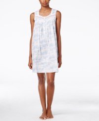 Eileen West Scalloped Lace Trimmed Nightgown White Print