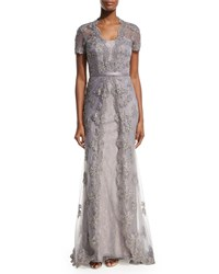 La Femme Short Sleeve Embellished Tulle Overlay Gown Silver Silver Pin