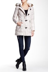 Laundry By Shelli Segal Faux Fur Hood Toggle Down Puffer Beige