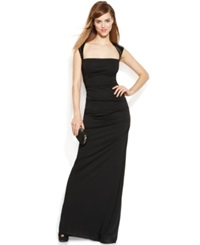 Calvin Klein Cap Sleeve Sequin Ruched Gown