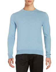 Black Brown Long Sleeve Crewneck Sweater Sky Heather Blue