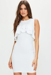 Missguided Tall White Sleeveless Frill Bodycon Dress