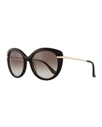 Salvatore Ferragamo Butterfly Sunglasses With Golden Detail Black