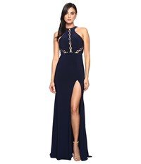 Faviana Lace Up Illusion On Jersey 7909 Navy Women's Dress
