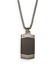 Lotus 14K Yellow Gold And Stainless Steel Pendant Necklace Black
