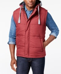 Weatherproof Vintage Men's Big And Tall Hooded Vest Medium Red